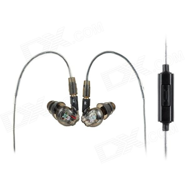 Moxpad X3 In-Ear Earphone w/ Mic. for IPHONE + HTC + More - Translucent Grey (3.5mm Jack / 135cm)