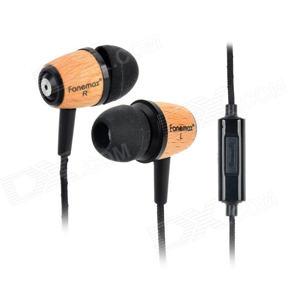 Fonemax X-WOOD Retro Stylish 3.5mm Jack Wired In-ear Wood Earphone w/ Mic - Black + Wooden keeka mic 103 stylish universal 3 5mm jack wired in ear headset w microphone red blueish green