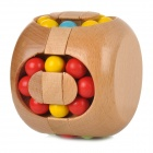 Novel Berger Style Beech Rubik's Cube - Wood + Red + Multi-Colored