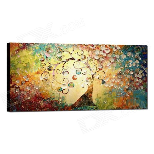 "Iarts DX0613-06 Hand-painted ""Tree of Life"" Landscaping Oil Painting - Yellow + Blue (40 x 80cm)"