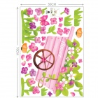 Loving Flowers Utility Cart Patterned Lobby / Balcony / Bedroom Wall Sticker - Green + Pink
