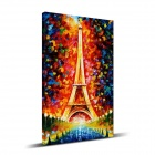 "Iarts DX0701-2 Hand-painted ""The Eiffel Tower"" Knife Oil Painting - Red + Yellow (40 x 60cm)"