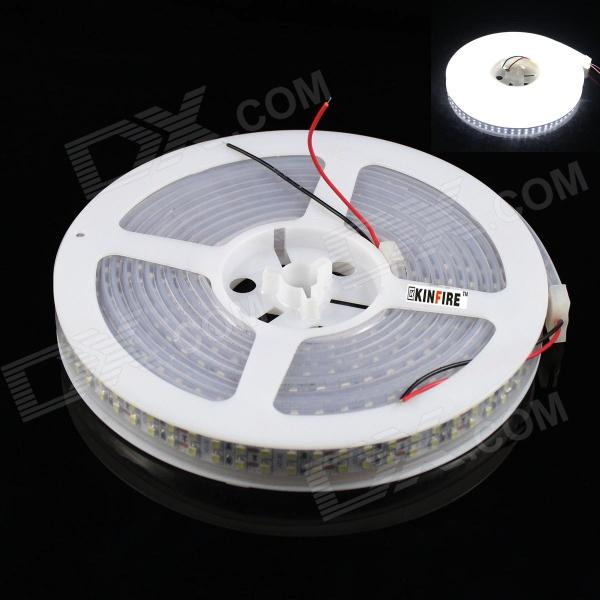 KINFIRE F-3 Dual-Row 72W 2200lm 6500K 600-SMD 3528 LED White Light Strip (500cm / DC 12V) free shipping super wide u shape aluminum anodized profile for led strips with cover and end caps for dual row led strip