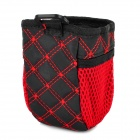 Multifunctional Car Storage Bag Pouch w/ 2 Net Pockets - Red + Black