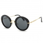 Women's Retro Style Plastic Frame Resin Lens UV400 Protection Sunglasses - Black + Gold