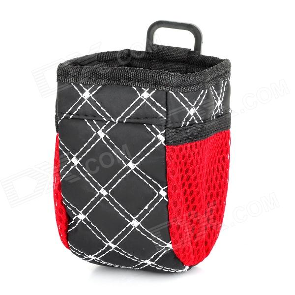 Multifunctional Car Storage Bag Pouch w/ 2 Net Pockets - White + Black + Red