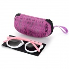 Retro Style PC Frame PC Lens UV400 Protection Sunglasses for Women - White + Pink