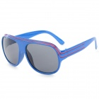 Fashionable Plastic Frame Resin Lens UV400 Protection Sunglasses - Blue