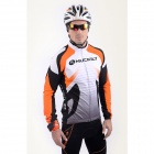 NUCKILY NJ528-W Men's Long Sleeves Polyester + Fleece Cycling Jersey - Orange + White (XXL)