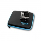 TELESIN GP-PRC-215 Water Resistant PU + EVA Storage Case for Gopro Hero Camera - Black + Blue