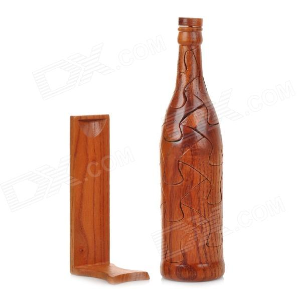 Creative Assembled Art Decorative Puzzle Sandalwood Beer Bottle Toy w/ Holder - Wood