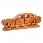 Creative Assembled Art Decorative Puzzle Sandalwood Vintage Car Toy w/ Base - Wood