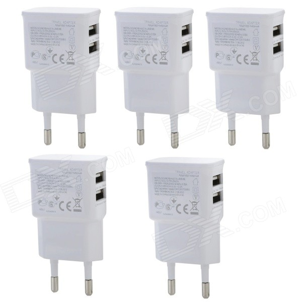 Universal Dual USB EU Plug AC Power Adapter Charger - White (100~240V / 5PCS) цена и фото