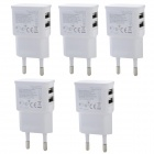Universal Dual USB EU Plug AC Power Adapter Charger - White (100~240V / 5PCS)