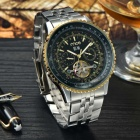 MCE 01-0060147 Multi-functional Alloy Band Analog Tourbillon Self-Winding Mechanical Wrist Watch