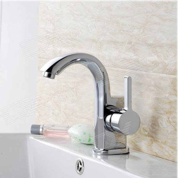 Contemporary Brass Unique Chrome Finish  Bathroom Sink Faucet - Silver