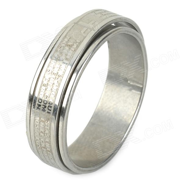 Unisex 2-in-1 Scripture Style Rotatable 316L Stainless Steel Ring - Silver (US Size: 9) yongheng sl 01 men s 2 in 1 type rotatable titanium steel ring silver