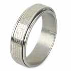 Unisex 2-in-1 Scripture Style Rotatable 316L Stainless Steel Ring - Silver (US Size: 9)