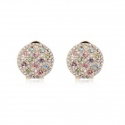 Angibabe Starry Pattern Gold-plated Alloy + Rhinestone Stud Earrings for Women - Multicolored (Pair)