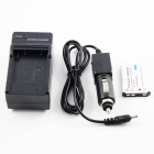 Replacement 1200mAh Battery + AC US Plug Charger + Car Charger for OLYMPUS Series