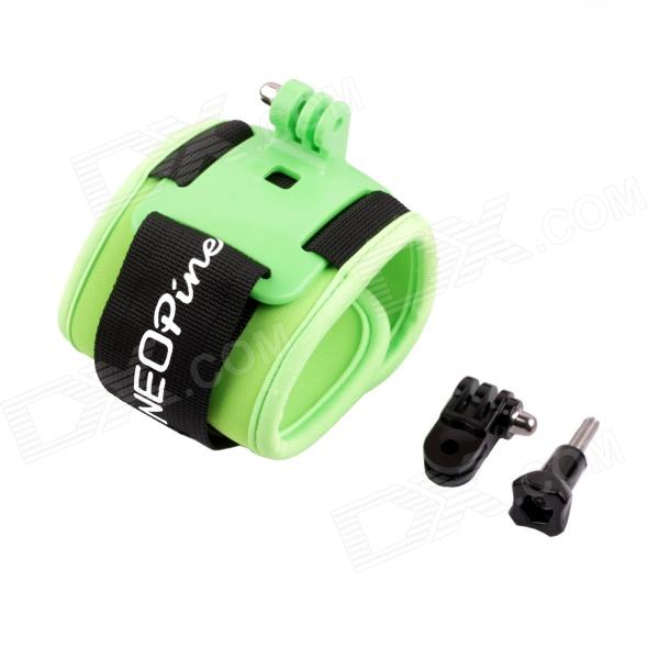 NEOpine Arm Bands Wrist Strap Mount w/ Hinge + Screw for Gopro Hero 4/ 3+ / 3 / 2 / 1 - Black + Green three way adjustable pivot arm for gopro hero 1 2 3 3 camera
