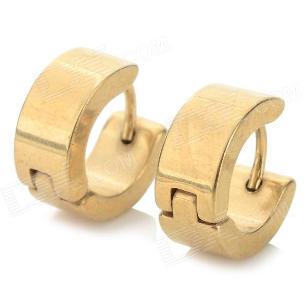 SHIYING Men's Fashionable Gold-plated 316L Stainless Steel Earring Ear Stud - Golden (Pair)