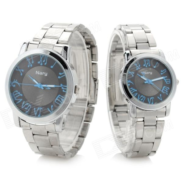 NARY 6027 Stainless Steel Band Quartz Wristwatch for Lovers & Couples - Silver (Pair / 1 x SR626) fashion stainless steel band quartz wrist watch for couple silver 2 x sr920 pair