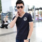 Men's V-Neck Short Sleeves Polyester Fiber + Spandex T-Shirt - Purplish Blue (L)