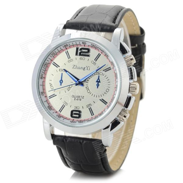 Zhongyi 819 Men's Fashionable PU Band Quartz Analog Wrist Watch - Silver + Black + White (1 x 626)