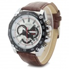 Zhongyi 804 Men's PU Leather Band Analog Quartz Wrist Watch - Coffee + Black + White (1 x 626)