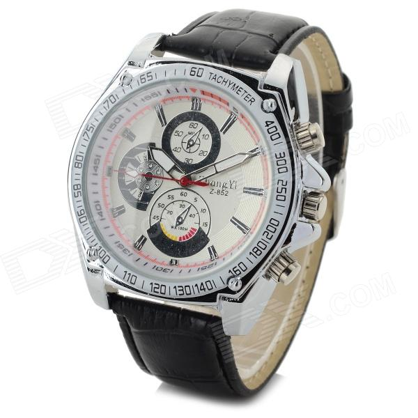 Zhongyi 852 Men's Fashionable PU Band Analog Quartz Wrist Watch - Silver + White + Black (1 x 626)
