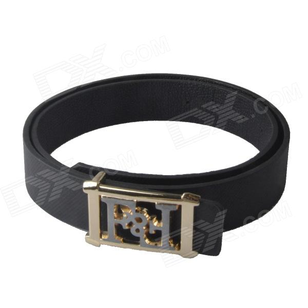 Universal Fashionable Casual PU Leather Wild Belt w/ Zinc Alloy Buckle - Black (110cm)