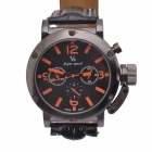 V6 Fashion Hour Marks Round Dial Quartz PU Band Wrist Watch - Black + Orange