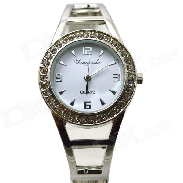 Fashion Round Crystal Dial Quartz Bracelet Watch for Women - White + Silver l 10 women s stylish petals style bracelet quartz analog wristwatch golden white 1 x lr626