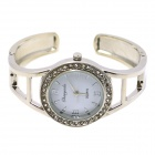 Fashion Round Crystal Dial Quartz Bracelet Watch for Women - White + Silver