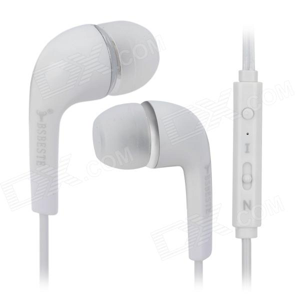 BSBESTE Q10 3.5mm Plug In-Ear Earphone w/ Microphone / Remote - White