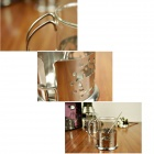 BU60 Couple's Creative Elegant Glass + Stainless Steel Coffee Cups - Transparent + Silver