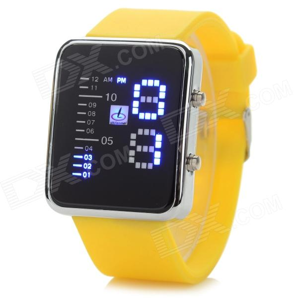 Shifenmei 1149 Zinc Alloy Case Silicone Band Digital LED Wrist Watch - Yellow + Silver (1 x CR2032)
