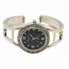 Fashion Round Crystal Dial Quartz Bracelet Watch for Women - Black + Silver