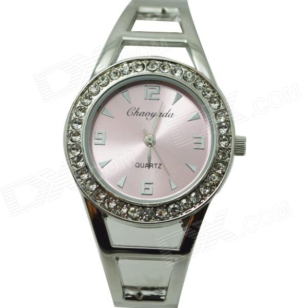 Fashion Round Crystal Dial Quartz Bracelet Watch for Women - Pink + Silver womage chic pencil shaped hour hands style quartz wrist watch with white dial for women hot pink