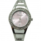 Fashion Round Crystal Dial Quartz Bracelet Watch for Women - Pink + Silver