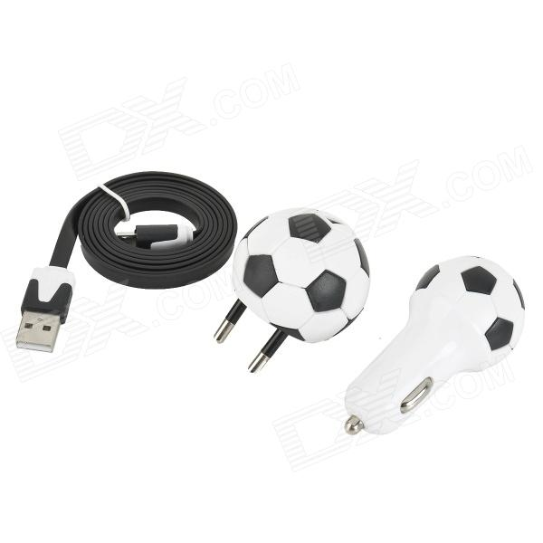 World Cup Football Style Power Adapter + Car Charger + USB Cable for Samsung / HTC / Sony / Google janse football foot style 15w dual usb eu plug power charger car charger white
