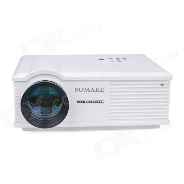 SOMAKE ZH580 5.8 LCD 1080P HD Home Theater Projector w/ AV / HDMI / TV / VGA - White mini led lcd video projector 320 x 240 support 1080p av usb sd hdmi for home portable mobile projector for tv home theater