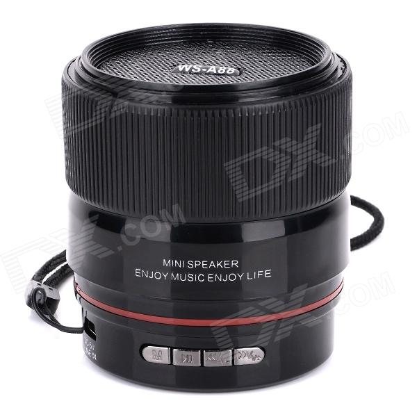 SLANG WS-A88 Multi-function Lens Rechargeable Media Player Speaker w/ USB 2.0 / TF / FM - Black