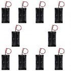 CM01 DIY 7.4V 2-18650 Battery Holder Cases / Boxes w/ Line - Black (10 PCS)