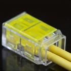 910019-2 Strip-Free 2Pin Quick-connecting Wire / Cable Connectors - Transparent + Yellow (5 PCS)