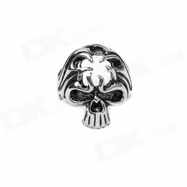 Skull Style Stainless Steel Finger Ring - Silver Black (U.S Size 11) ring to rule them all 316l stainless steel ring black size 11 5