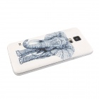 Elonbo Elephants PC Bendable Battery Back Cover Housing Case for Samsung Galaxy S5 - White + Silver