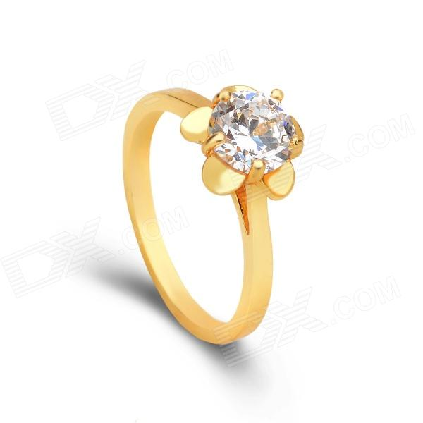 KCCHSTAR 24K Gold Plating Flower Style Crystal Finger Ring - Golden + Red (US Size 8)