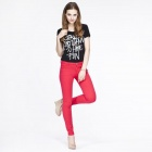 Catwalk88 Women's Casual Cotton Low-waist Pencil Pants / Skinny Jeans - Red (Size 26)